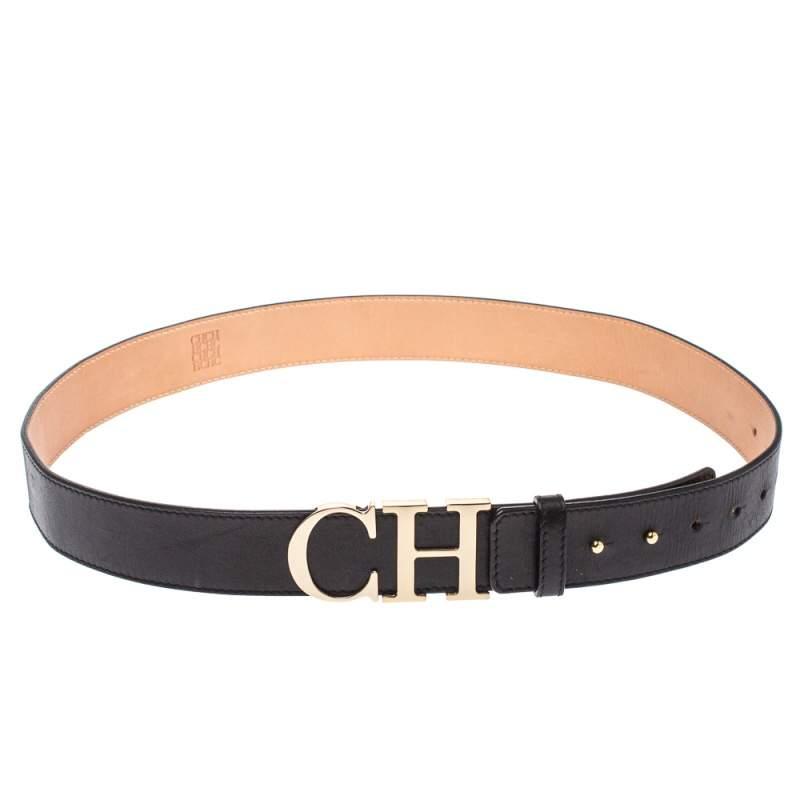 حزام كارولينا هيريرا إبزيم سي أتش جلد أسود 95 سم