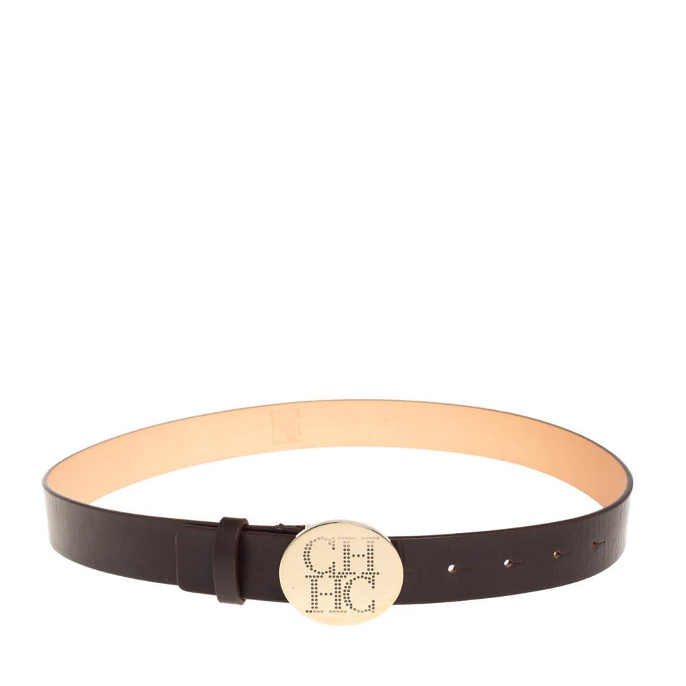 Carolina Herrera Dark Brown Leather Round Logo Buckle Belt 80CM