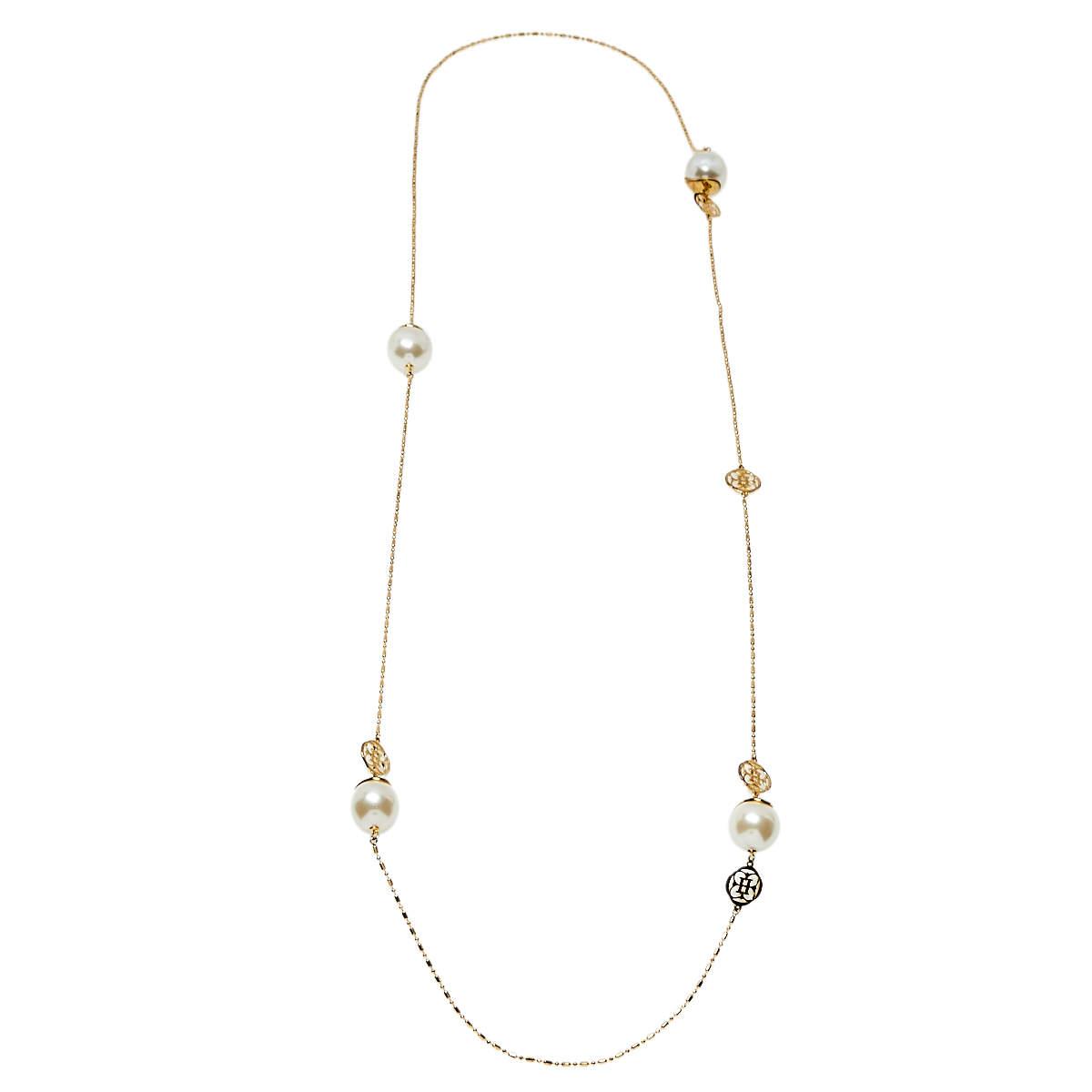 Carolina Herrera Gold Tone Faux Pearl Station Long Necklace