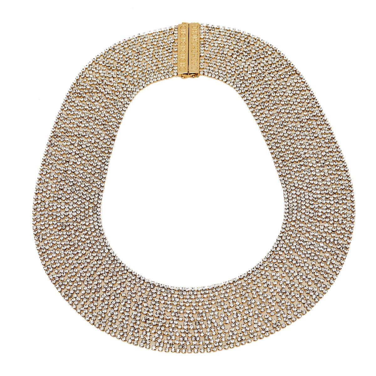 Carolina Herrera Gold Tone Crystal Mesh Band Necklace