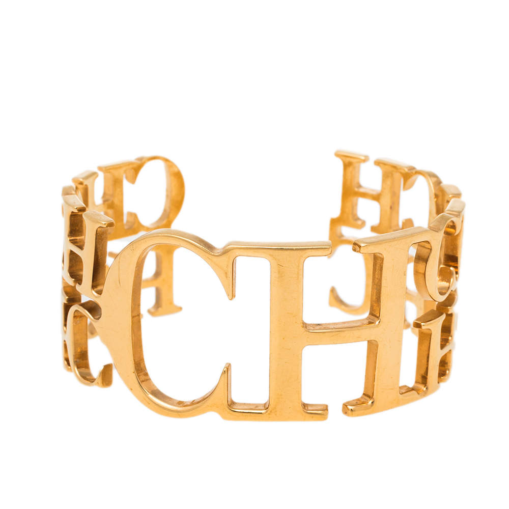 CH Carolina Herrera Logo Gold Tone Open Cuff Bracelet