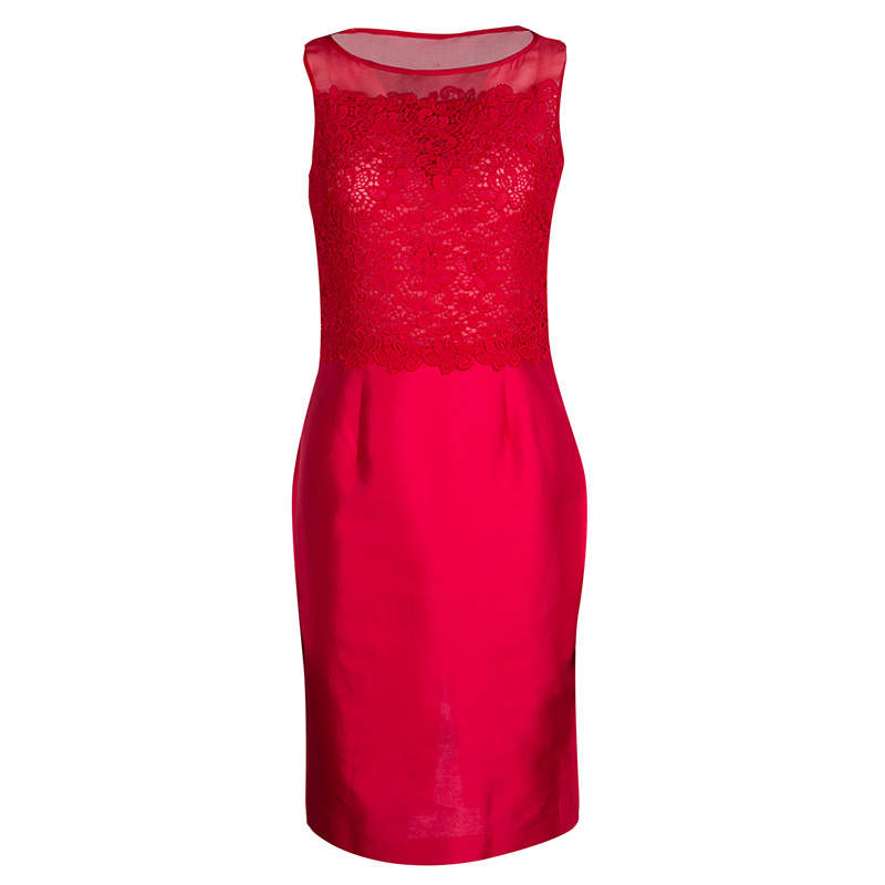 CH Carolina Herrera Red Lace and Organza Sleeveless Sheath Dress S