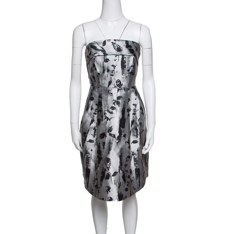CH Carolina Herrera Silver and Black Floral Jacquard Strapless Dress S