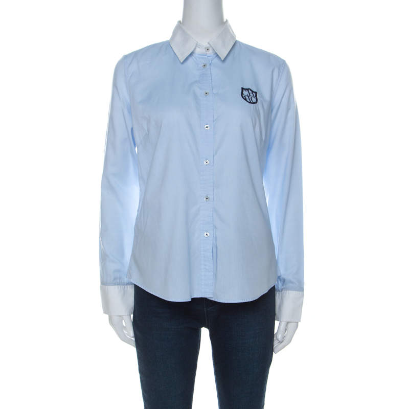 Carolina Herrera Blue Cotton Crest Embroidered Button Front Oxford Shirt M