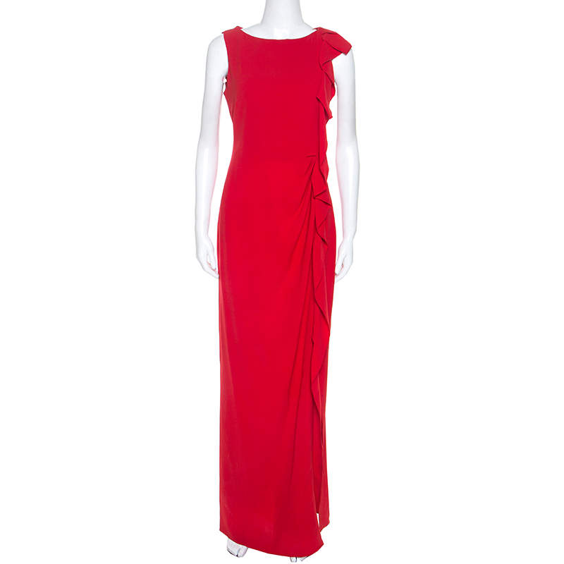 Carolina Herrera Red Crepe Ruffled Detail Sleeveless Maxi Dress S