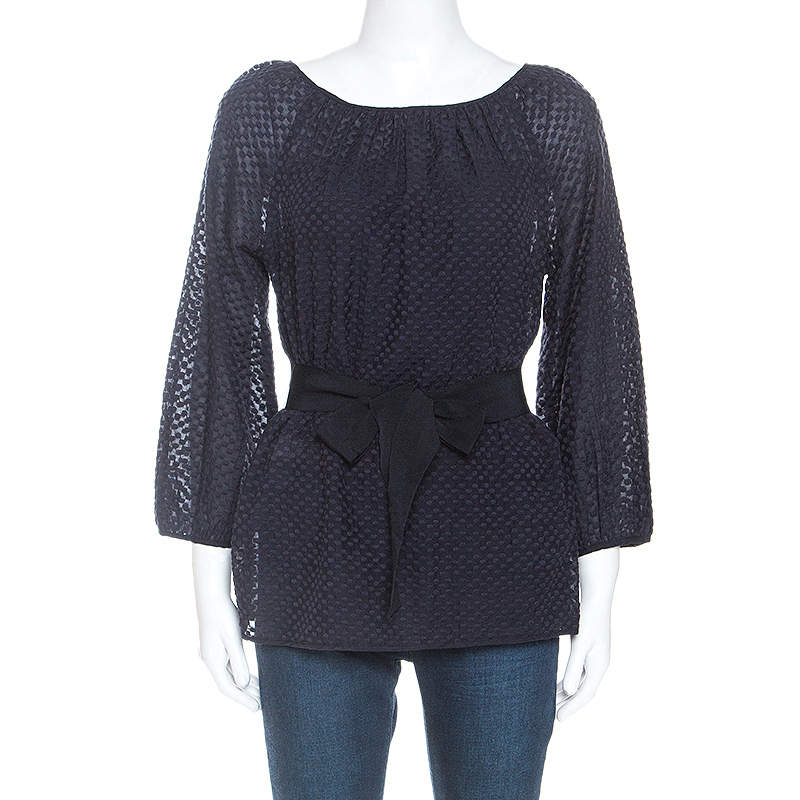 CH Carolina Herrera Navy Blue Cotton Embroidered Belted Top S