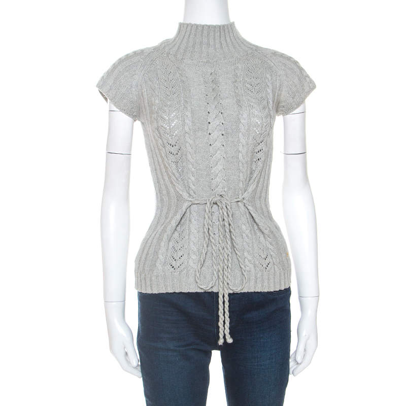 Carolina Herrera Grey Wool Cable Knit Sleeveless Turtle Neck Sweater XS