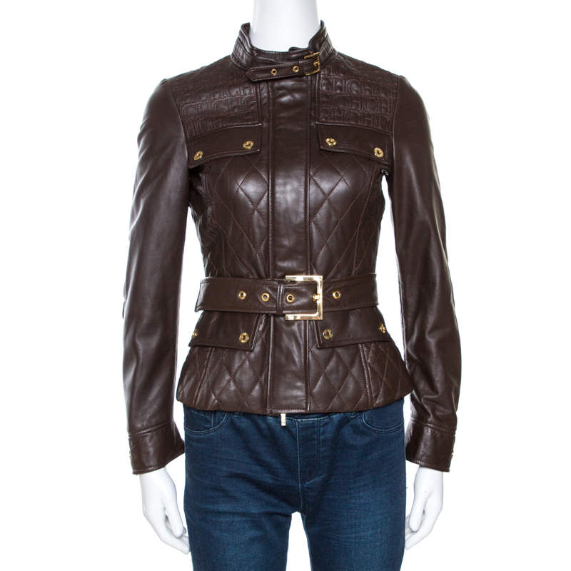 CH Carolina Herrera Brown Leather Belted Jacket XS