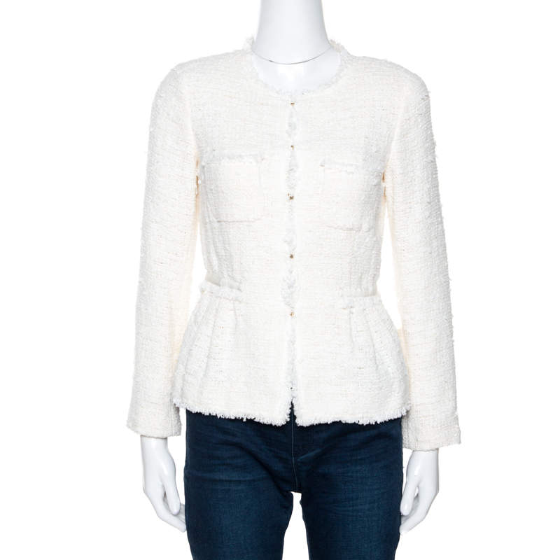 CH Carolina Herrera Off White Tweed Peplum Jacket S