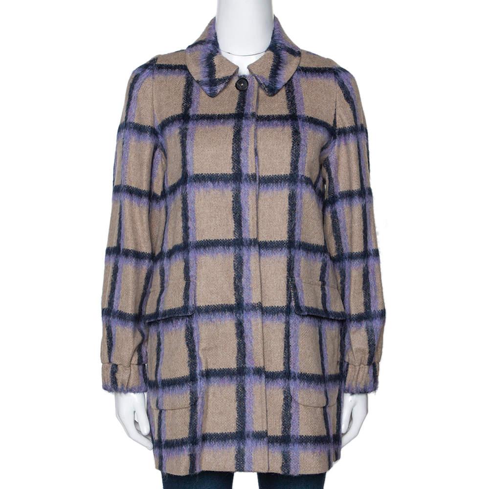 CH Carolina Herrera Beige Windowpane Checked Wool Coat XS