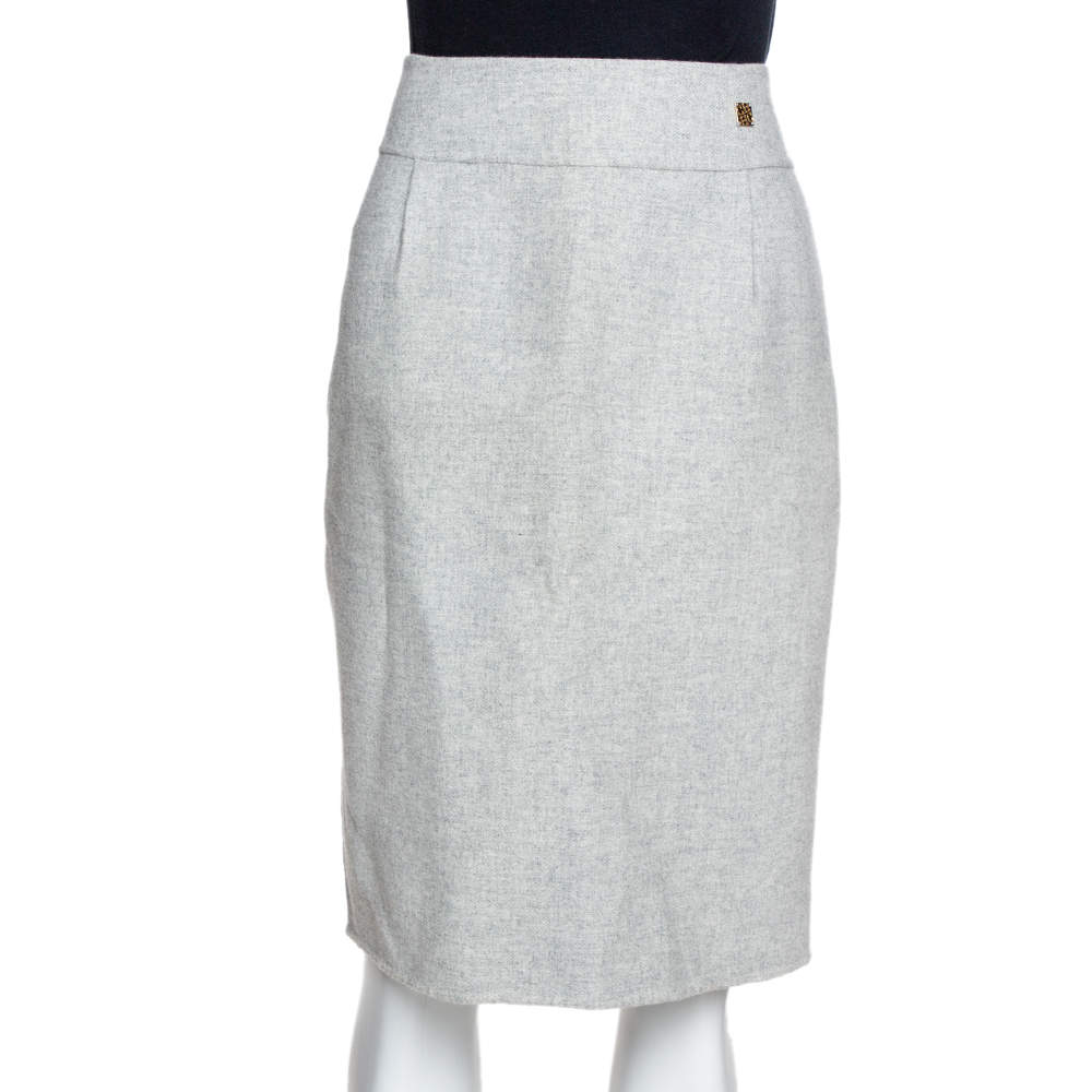 CH Carolina Herrera Pale Grey Wool Pencil Skirt L