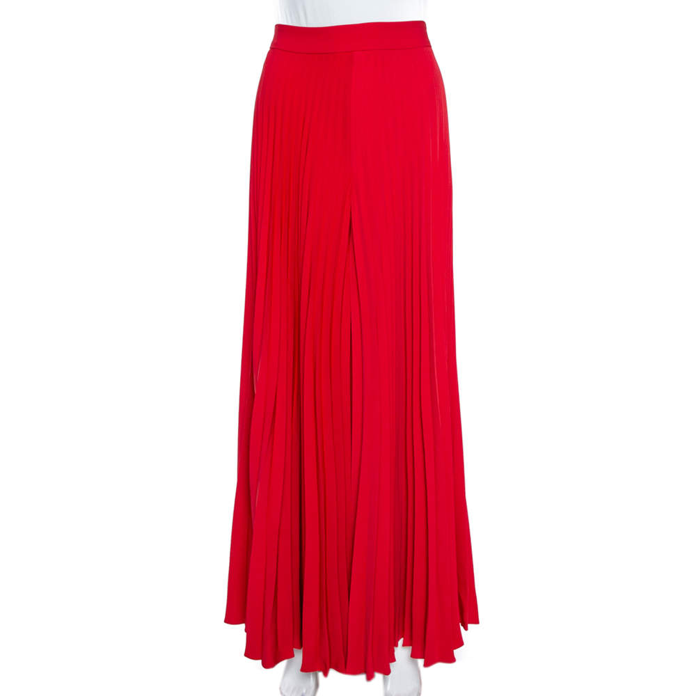 CH Carolina Herrera  Red Wide Leg Pleated Palazzo Pants S