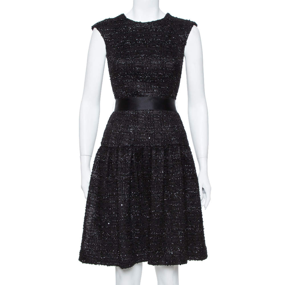 CH Carolina Herrera Black Sequin Embellished Lurex Belted Midi Dress S