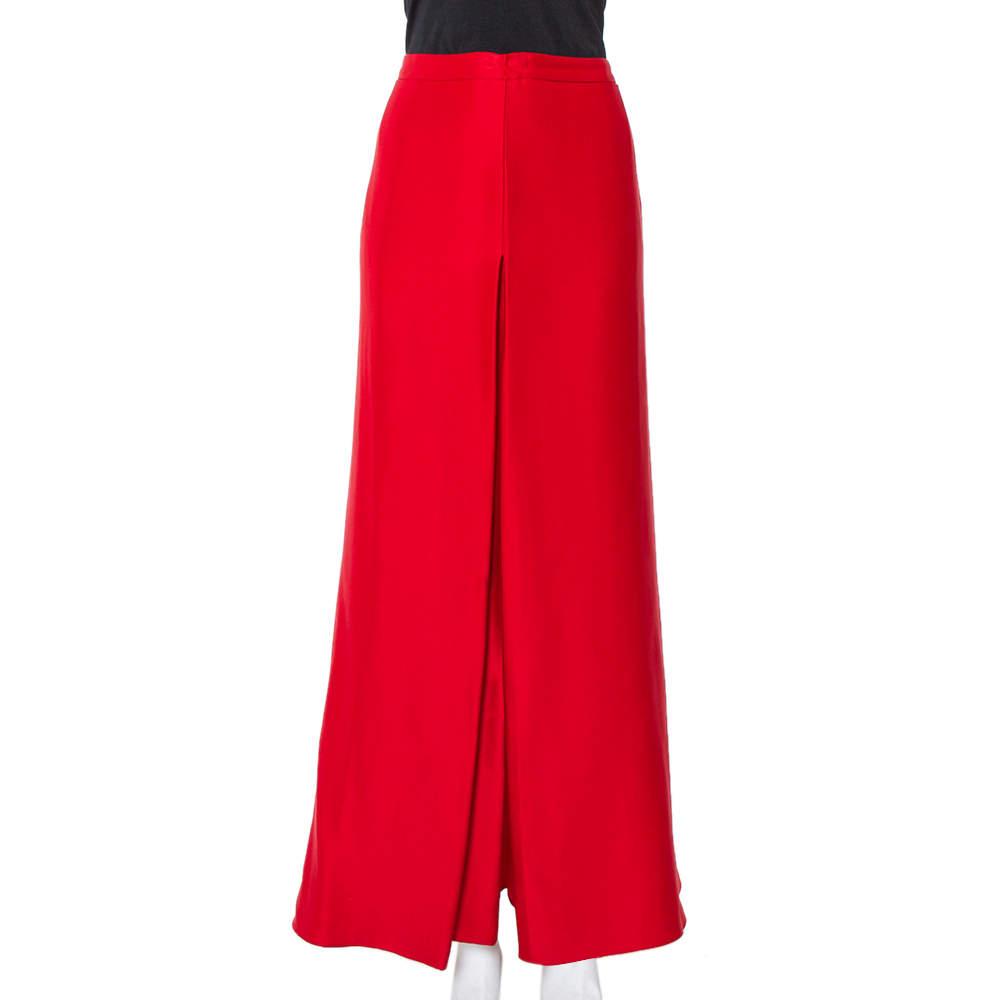 تنورة ماكسي سي إتش كارولينا هيريرا ساتان حرير أحمر بقصات مقاس متوسط - ميديوم