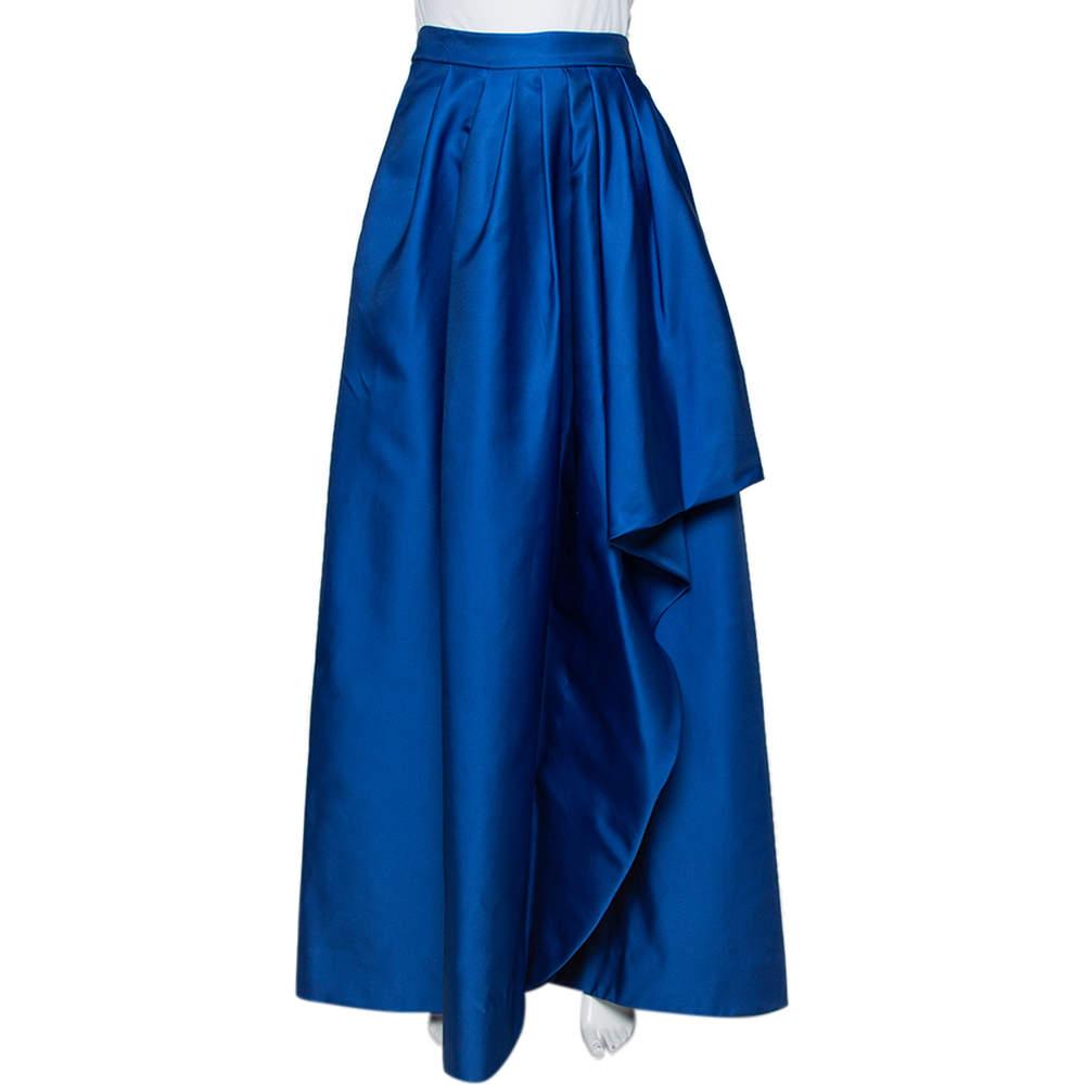 CH Carolina Herrera Royal Blue Taffeta Pleated Front Detail Asymmetric Hem Maxi Skirt S