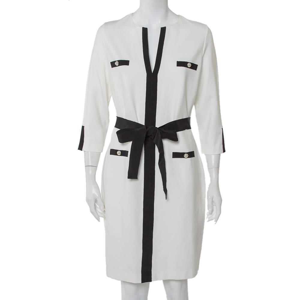 CH Carolina Herrera White Knit Contrast Trim Detail Belted Midi Dress L