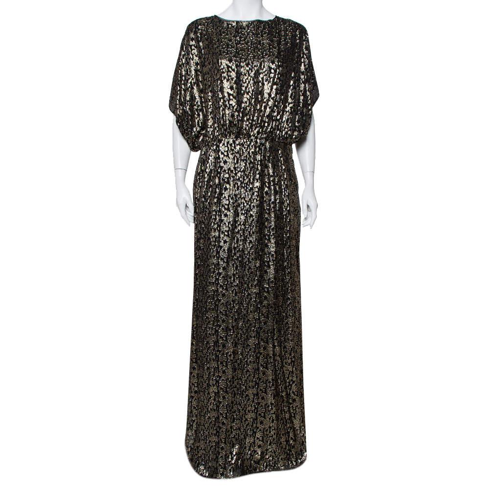 فستان سي أتش كارولينا هيريرا ماكسي تفاصيل علوية كبير فيل كوبيه أسود مقاس كبير