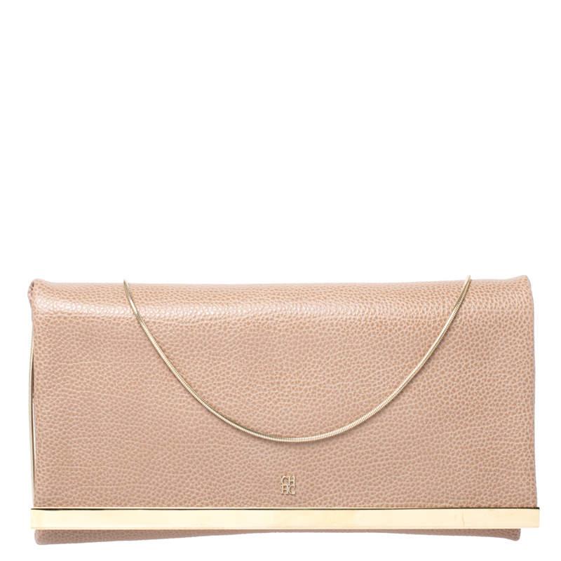 Carolina Herrera Beige Leather Chain Clutch