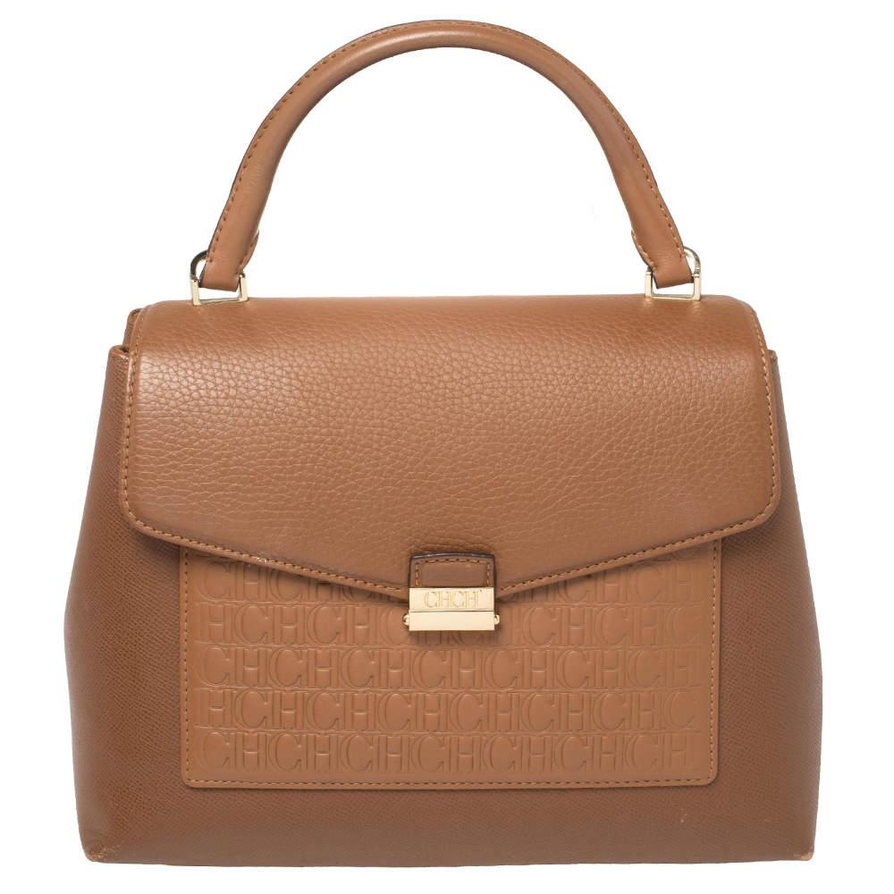 Carolina Herrera Brown Monogram Leather Top Handle Bag