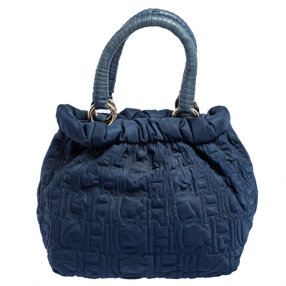 CH Carolina Herrera Blue Monogram Fabric Satchel