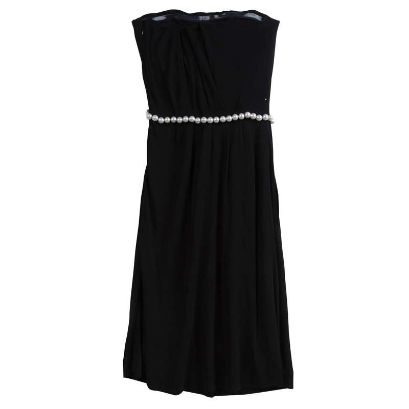 Chanel Black Knit Pearl Embellished Strapless Dress S