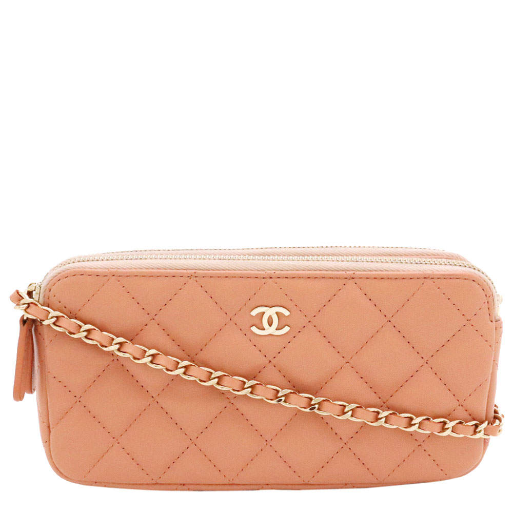 Chanel Salmon Pink Quilted Leather Chain Wallet Shoulder Bag