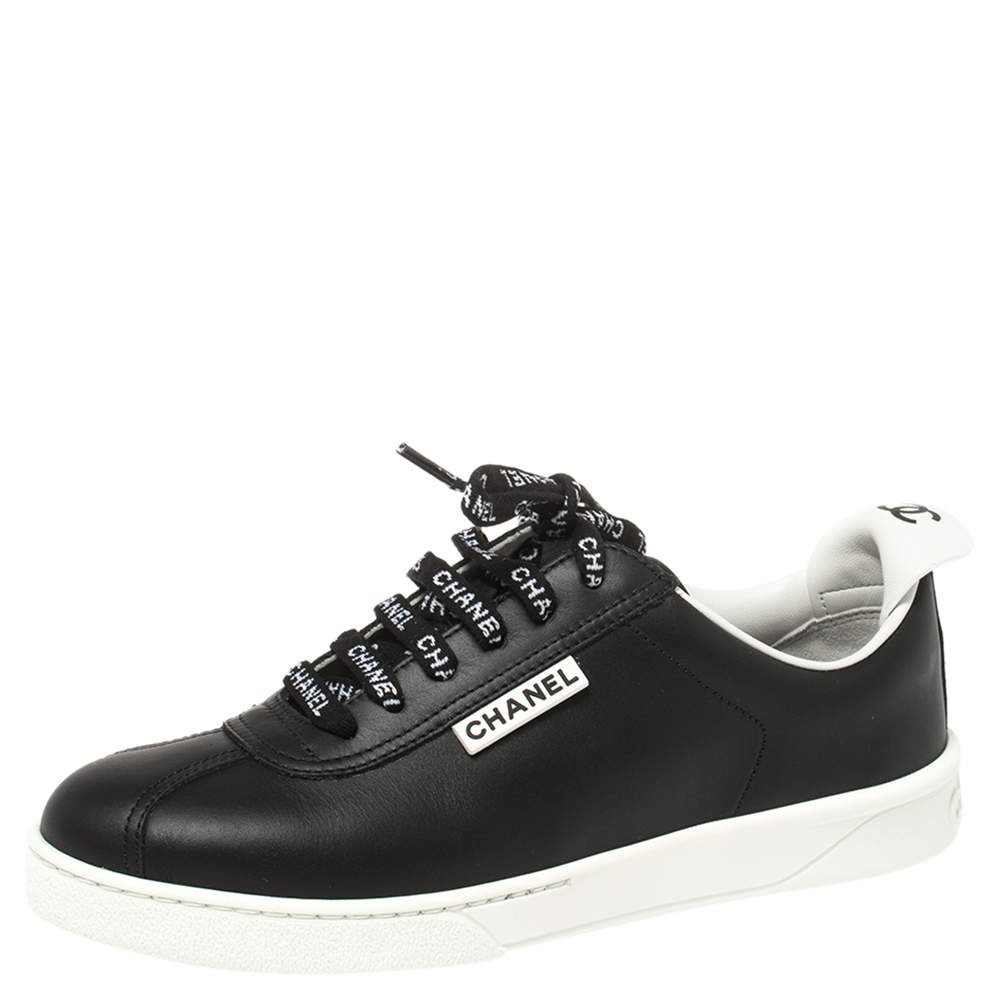 Chanel Black Leather Logo Lace Up CC Low Top Sneakers Size 36