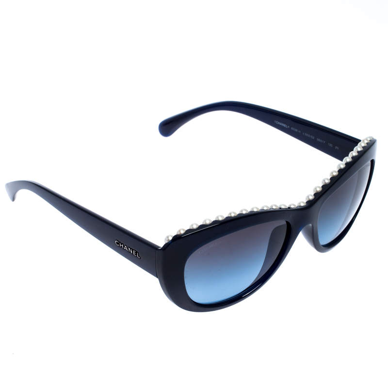 Chanel Dark Blue/ Blue Gradient 6038-H Pearl Embellished Cat Eye Sunglasses