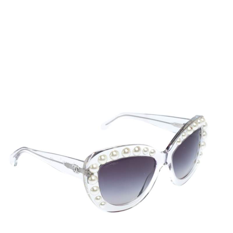Chanel Clear/Black Gradient 71096 Pearl Cateye Sunglasses