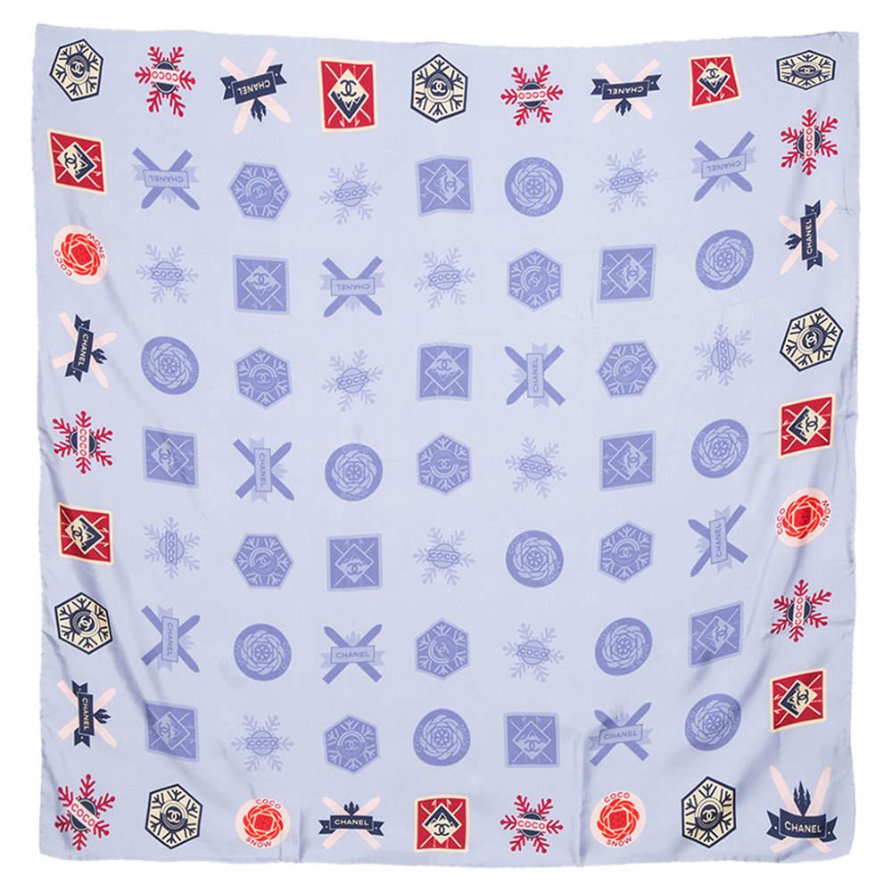 Chanel Blue Coco Snow Print Silk Square Scarf