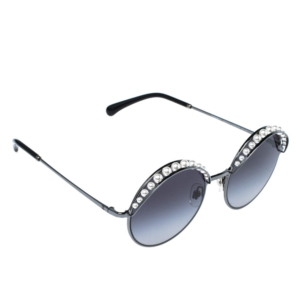 Chanel Pearl Embellished/Grey Gradient 4234H Round Sunglasses