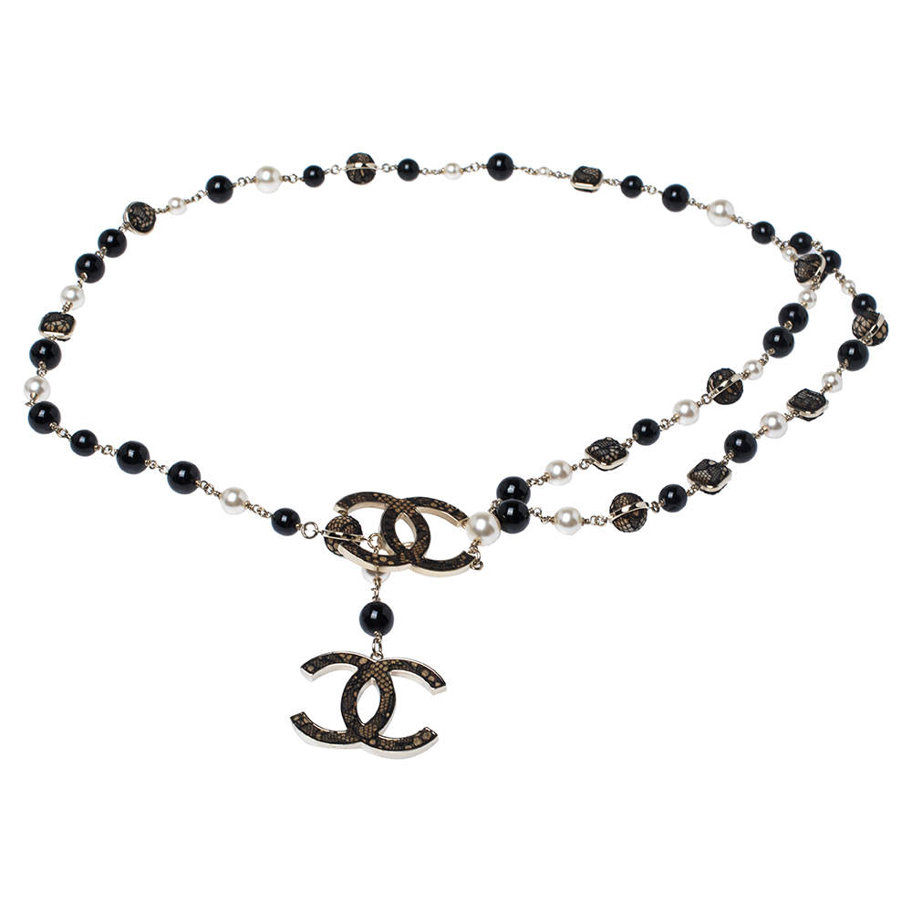 Chanel CC Multi Bead Faux Pearl & Lace Gold Tone Station Belt