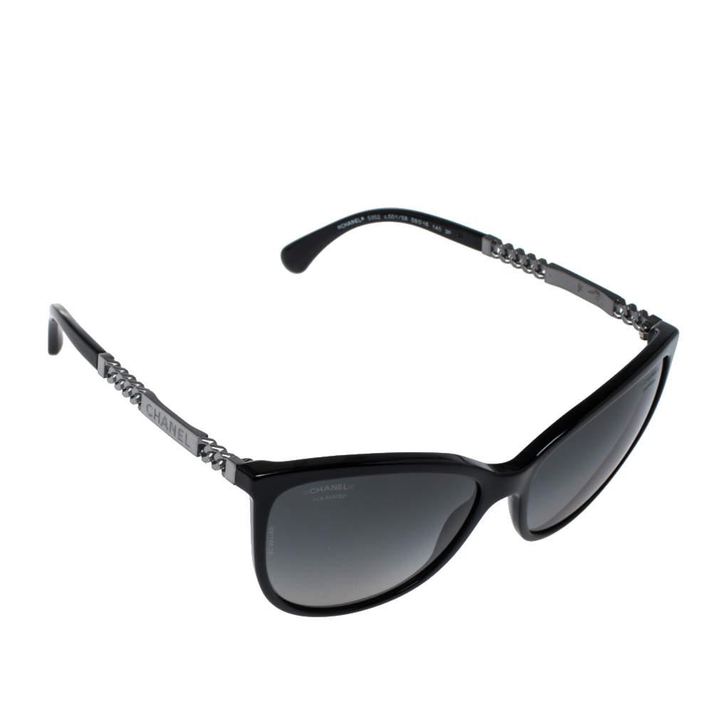 Chanel Gumetal Chain Bar/ Grey 5352-A Polarized Cat Eye Sunglasses