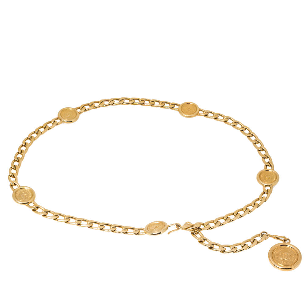 Chanel Gold Tone CC Chain Link Belt 90 CM