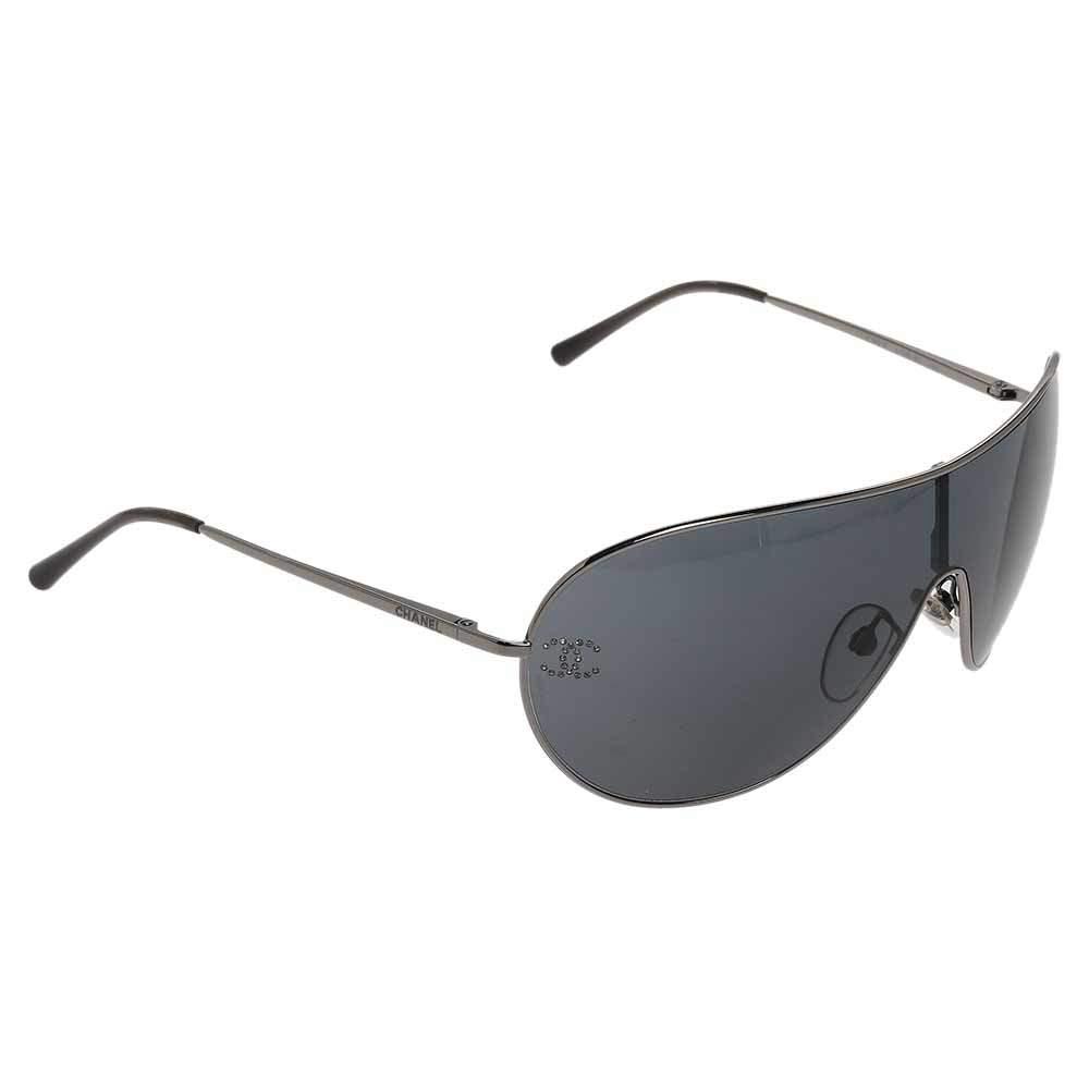 Chanel Silver/Black 4122B Shield Sunglasses