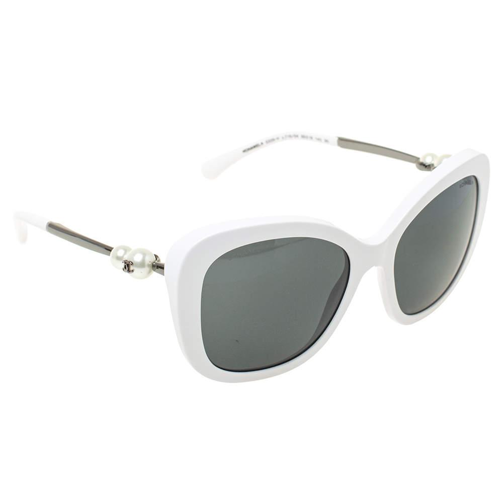 نظارة شمسية شانيل مربعة 5339أتش مزخرفة لؤلؤ بيضاء