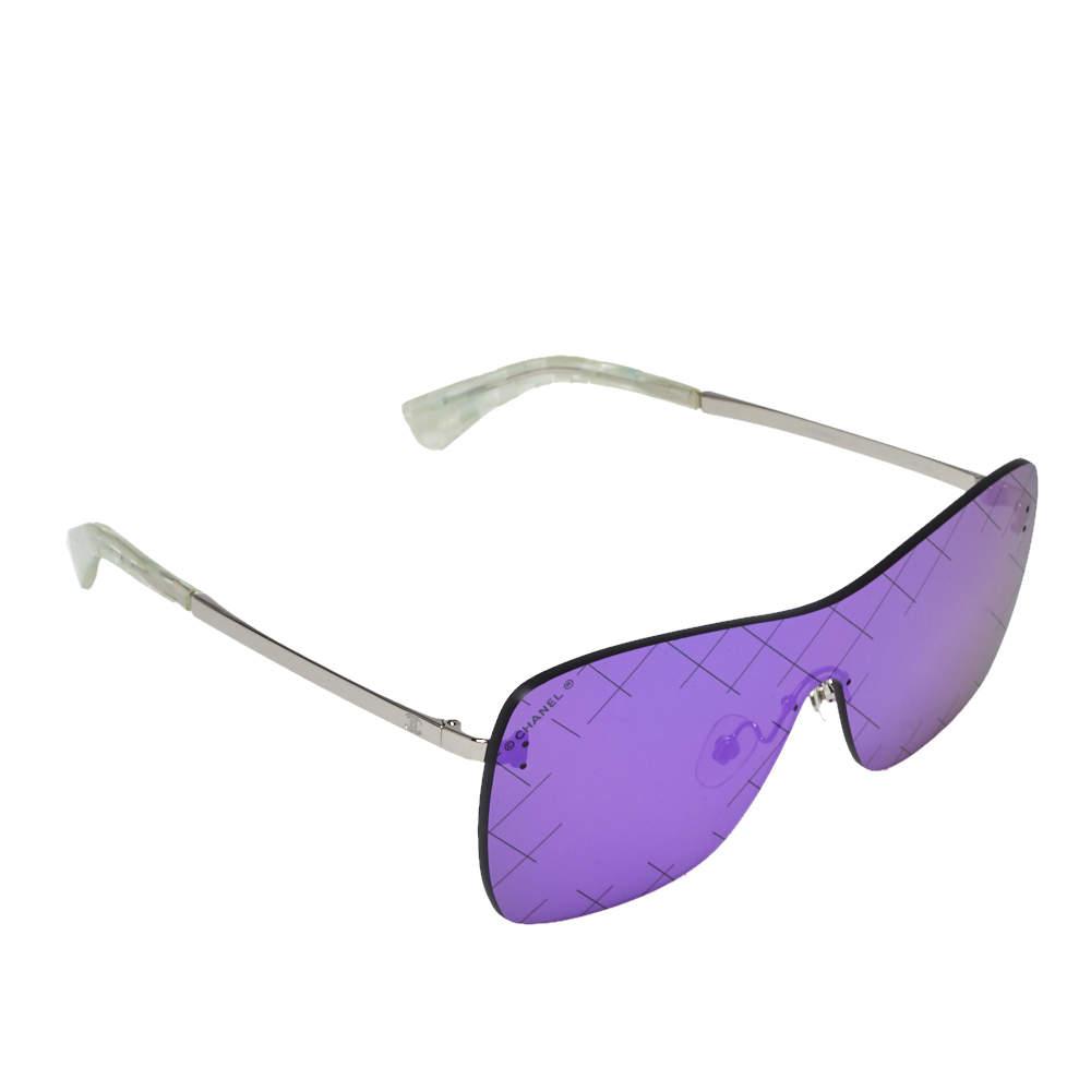 نظارة شمسية شانيل شيلد رانواي 4215 عاكسة كروسهاتش بنفسجية/ لون فضي