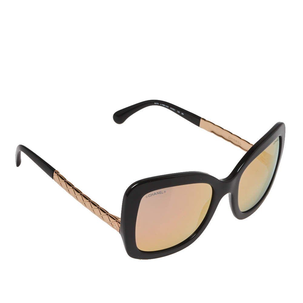 Chanel Black / Rose Gold Mirrored 5370 Butterfly Spring Sunglasses