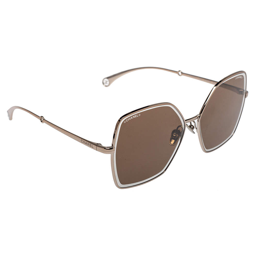 Chanel Gold Tone/ Brown Mirrored 4262 Detachable Pearl Chain Butterfly Sunglasses