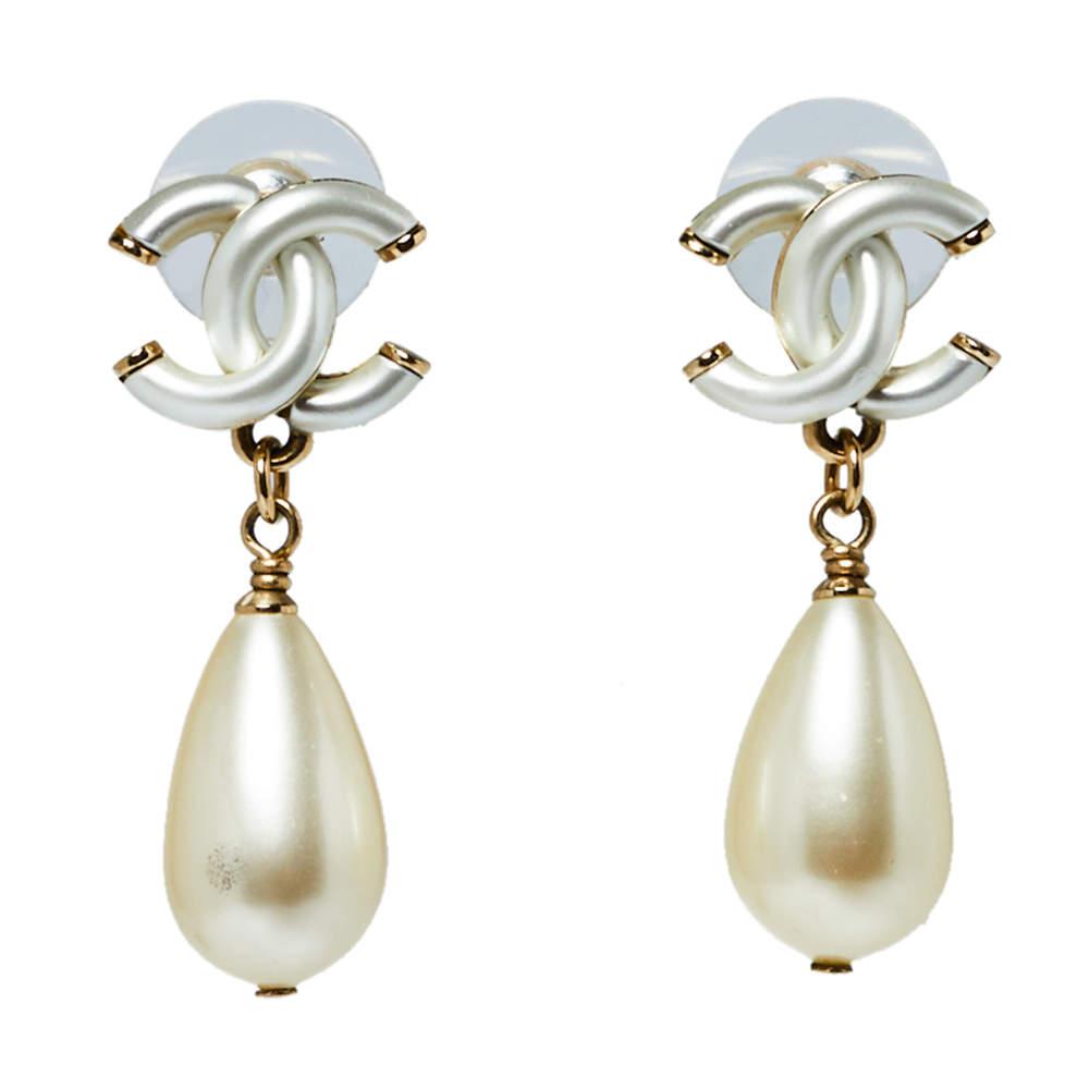 Chanel Gold Tone CC Pearl Teardrop Earrings