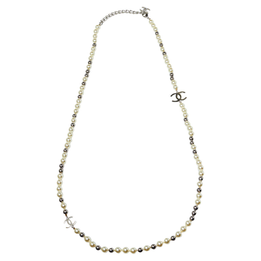 Chanel Cream & Grey Faux Pearls CC Charm Necklace