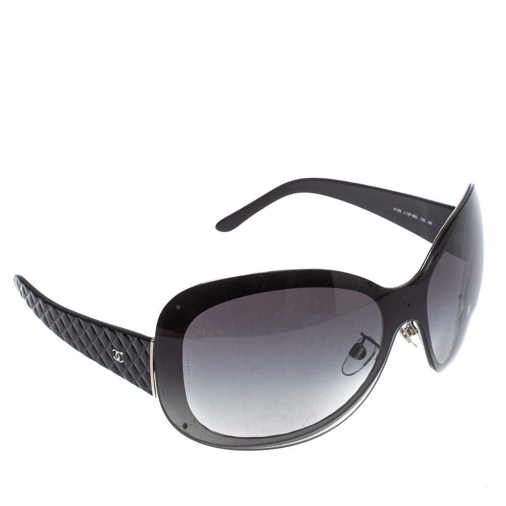 Chanel Black Quilt/ Grey Gradient 4159 Oversized Sunglasses