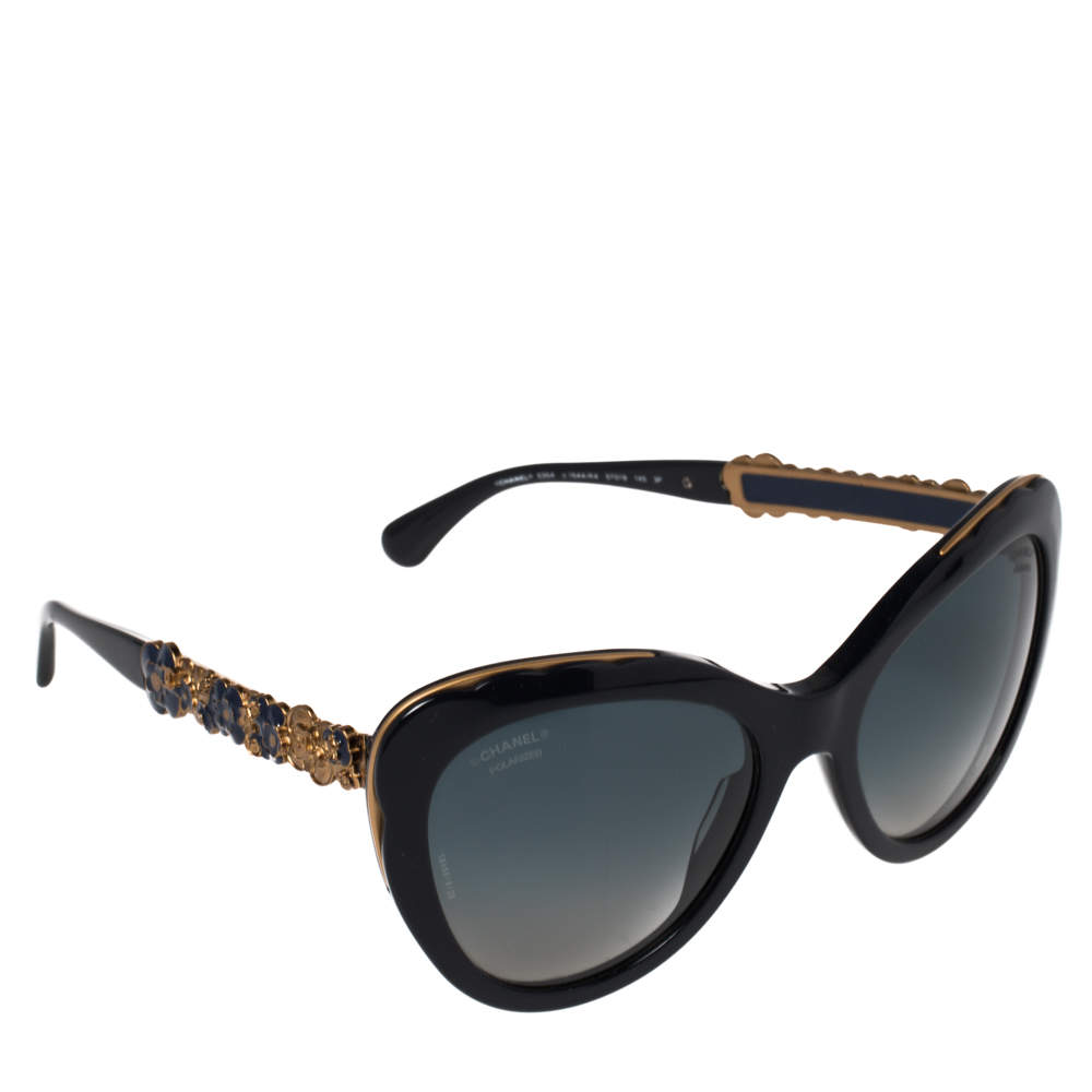 Chanel Navy & Gold Tone/ Blue Gradient 5354 Blooming Bijou Polarized Cateye Sunglasses