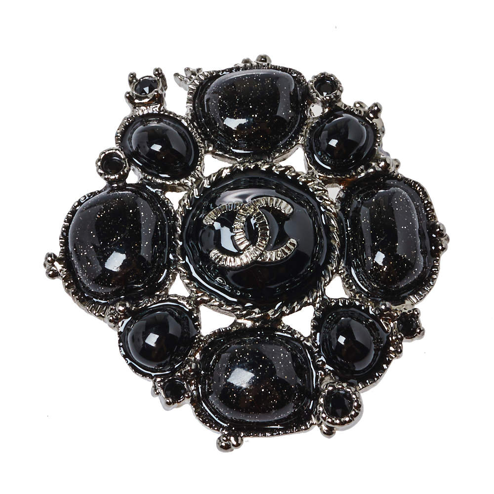Chanel Black Metallic Gripoix and Crystal Pin Brooch