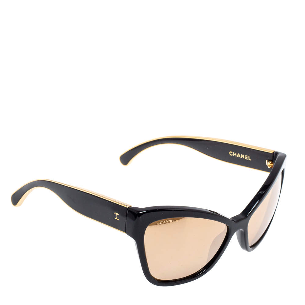 Chanel Black / Gold Mirrored 5271 Cat Eye Sunglasses