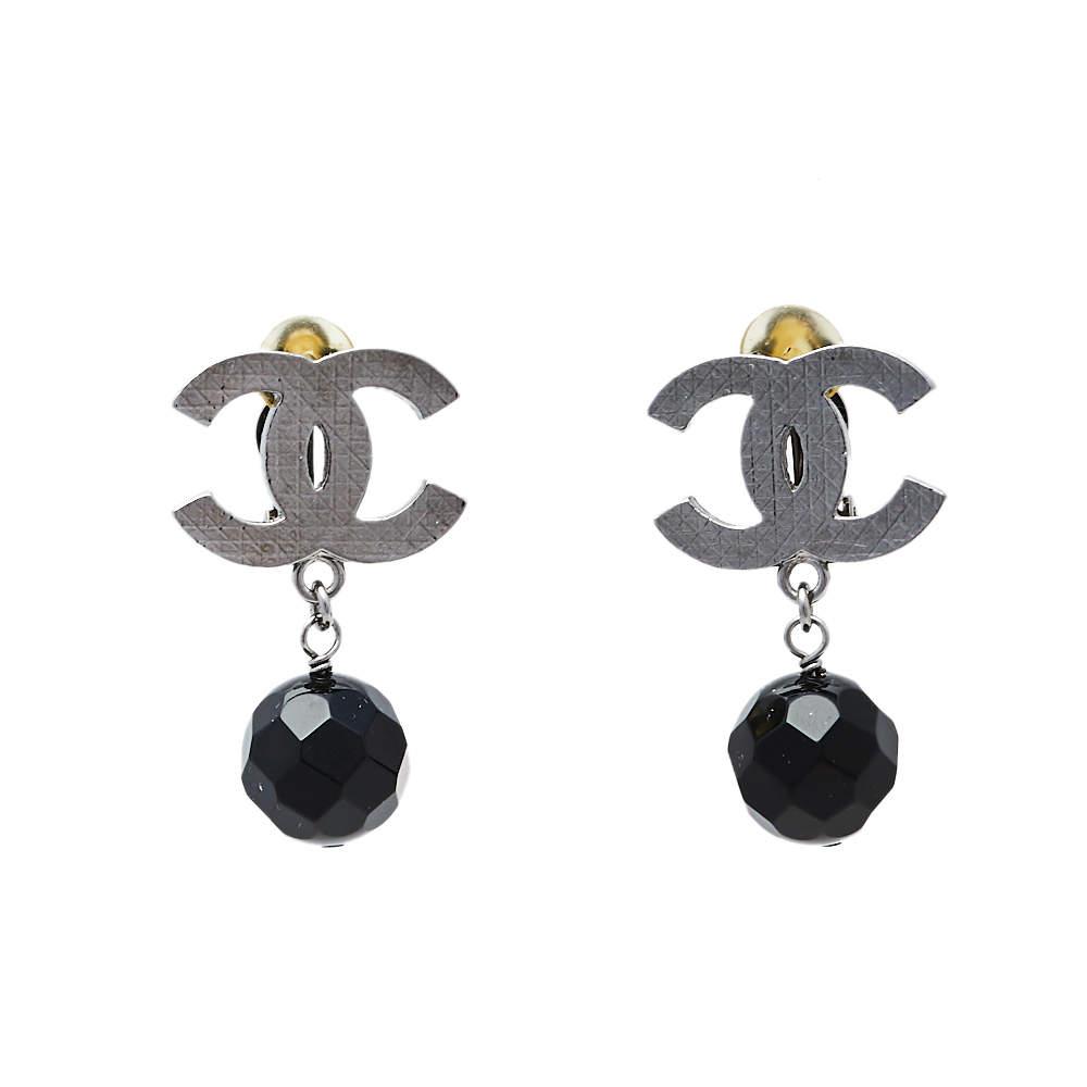 Chanel Ruthenium CC Black Bead Drop Clip On Earrings