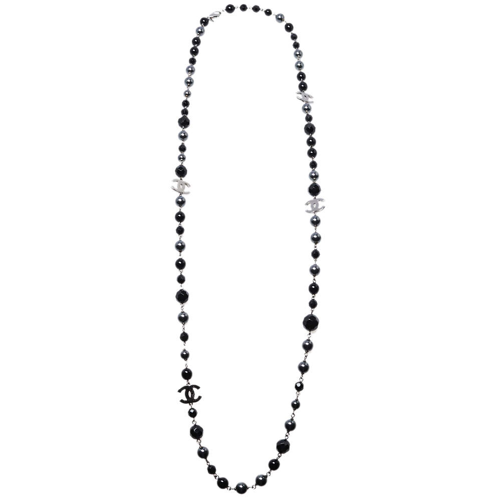 Chanel Ruthenium Tone Black Beaded CC Long Necklace