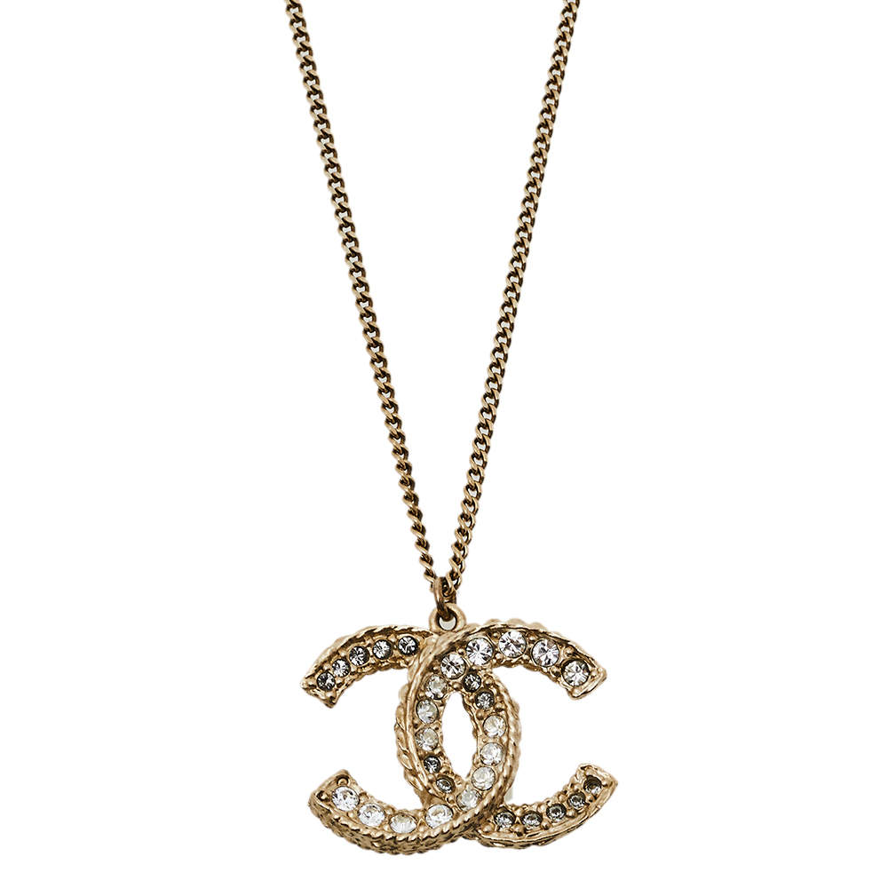 Chanel Pale Gold Tone Crystal CC Pendant Necklace