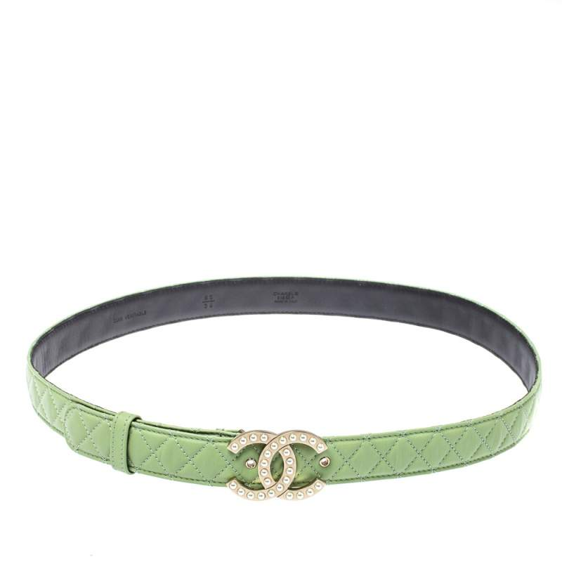 Chanel Mint Green Quilted Leather CC Pearl Belt 85CM
