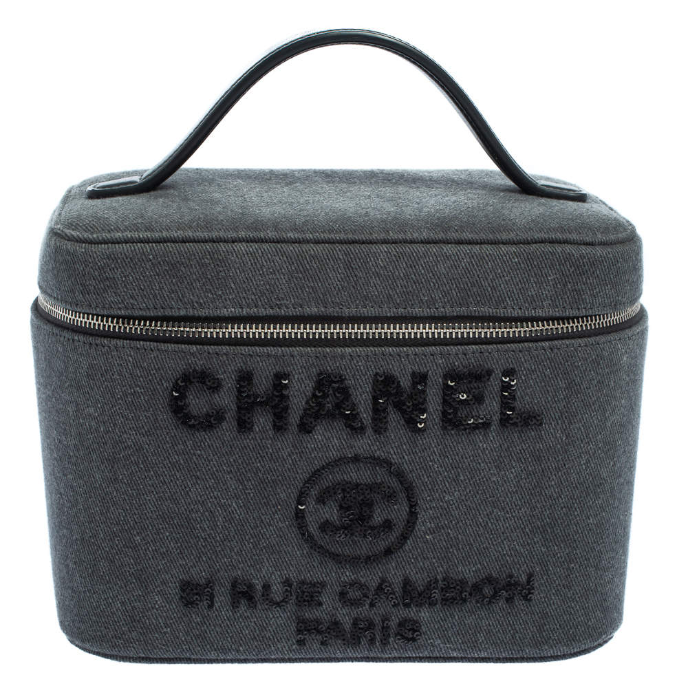 Chanel Grey Sequins Canvas and Leather Vanity Deauville Cosmetic Case